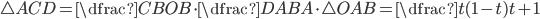 {\triangle ACD=\dfrac{CB}{OB}\cdot \dfrac{DA}{BA}\cdot \triangle OAB=\dfrac{t(1-t)}{t+1}}