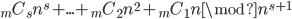 {}_mC_sn^s+...+{}_mC_2n^2+{}_mC_1n\mod n^{s+1}