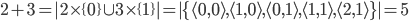 {2+3=|2\times\{ 0\}\cup 3 \times\{1\}|=|\{\langle 0,0\rangle,\langle 1,0\rangle,\langle 0,1\rangle,\langle 1,1\rangle,\langle 2,1\rangle\}|=5}