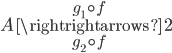 {A\overset{g_1\circ f}{\underset{g_2\circ f}{\rightrightarrows}}\bf{2}}