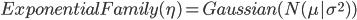 {ExponentialFamily(\eta) = Gaussian (N(\mu|\sigma^2) )}