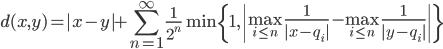 {d(x,y)=|x-y|+ \displaystyle \sum_{n=1}^\infty \frac{1}{2^n}\min \{ 1 , \left| \max_{i\leq n} \frac{1}{|x-q_i|}-\max_{i\leq n} \frac{1}{|y-q_i|} \right| \} }