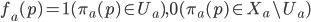 {f_a (p)=1 ( \pi _a (p) \in U_a ) , 0 (\pi _a (p) \in X_a\setminus U_a) }