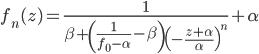 {f_n(z) = \frac{1}{\beta + \left(\frac{1}{f_0 - \alpha} - \beta\right)\left(-\frac{z + \alpha}{\alpha}\right)^n} + \alpha}