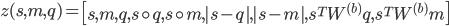 {z(s,m,q) = \left[ s,m,q, s \circ q, s \circ m, |s-q|, |s-m|, s^T W^{(b)} q, s^T W^{(b)} m \right]}