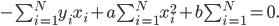 - \sum_{i=1}^{N} y_ix_i + a \sum_{i=1}^{N} x_i^2 +b \sum_{i=1}^{N} =0.