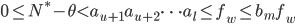 0 \leq N^*-\theta < a_{u+1}a_{u+2}\cdots a_l \leq f_w \leq b_mf_w