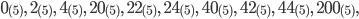 0_{(5)}, \ 2_{(5)}, \ 4_{(5)}, \ 20_{(5)}, \ 22_{(5)}, \ 24_{(5)}, \ 40_{(5)}, \ 42_{(5)}, \ 44_{(5)}, \ 200_{(5)},