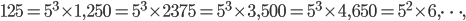 125=5^3\times 1, 250=5^3\times 2 375=5^3\times 3, 500 = 5^3\times 4, 650=5^2\times 6, \dots,