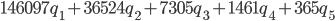 146097{q}_{1} + 36524{q}_{2} + 7305{q}_{3} + 1461{q}_{4} + 365{q}_{5}