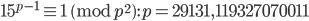 15^{p-1}\equiv 1 \pmod{p^2}: p=29131, 119327070011