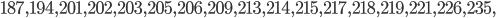 187, 194, 201, 202, 203, 205, 206, 209, 213, 214, 215, 217, 218, 219, 221, 226, 235,