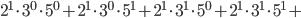 2^{1}\cdot3^{0}\cdot5^{0}+2^{1}\cdot3^{0}\cdot5^{1}+2^{1}\cdot3^{1}\cdot5^{0}+2^{1}\cdot3^{1}\cdot5^{1}+