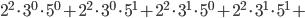 2^{2}\cdot3^{0}\cdot5^{0}+2^{2}\cdot3^{0}\cdot5^{1}+2^{2}\cdot3^{1}\cdot5^{0}+2^{2}\cdot3^{1}\cdot5^{1}+