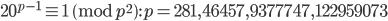 20^{p-1}\equiv 1 \pmod{p^2}: p=281, 46457, 9377747, 122959073