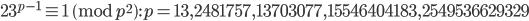 23^{p-1}\equiv 1 \pmod{p^2}: p=13, 2481757, 13703077, 15546404183, 2549536629329