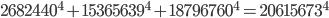 2682440^4 + 15365639^4 + 18796760^4 = 20615673^4