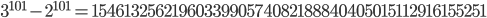 3^{101}-2^{101}=1546132562196033990574082188840405015112916155251