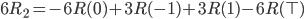 6 R_2 = -6 R(0) +3 R(-1) + 3 R(1) - 6  R(\top)