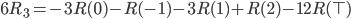 6 R_3 = -3 R(0) - R(-1) - 3 R(1) + R(2) - 12  R(\top)