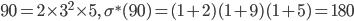 90=2\times 3^2\times 5, \quad \sigma^{\ast}(90)=(1+2)(1+9)(1+5)=180
