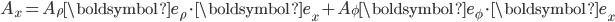 A_{x}=A_{\rho}{\boldsymbol e}_{\rho}\cdot{\boldsymbol e}_{x}+A_{\phi}{\boldsymbol e}_{\phi}\cdot{\boldsymbol e}_{x}