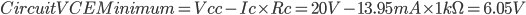 CircuitVCEMinimum=Vcc-Ic\times Rc=20V-13.95mA\times 1k\Omega =6.05V