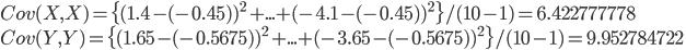 Cov(X, X) = \{(1.4 - (-0.45))^2 + ... + (-4.1 - (-0.45))^2 \} / (10-1) = 6.422777778\\Cov(Y, Y) = \{(1.65 - (-0.5675))^2 + ... + (-3.65 - (-0.5675))^2 \} / (10-1) = 9.952784722