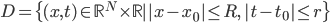 D=\{(x,t) \in \mathbb{R}^{N} \times \mathbb{R} \mid\, |x-x_{0}| \leq R,\, |t-t_{0}| \leq r \}