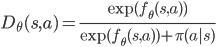 D_\theta(s,a) = \frac{\exp(f_\theta(s,a))}{\exp(f_\theta(s,a)) + \pi(a|s)}