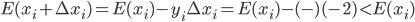 E (x_{i} + \Delta x_{i} ) = E (x_{i} ) - y_{i} \Delta x_{i} = E (x_{i} ) - ( - ) (-2) < E (x_{i} )