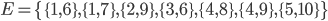 E = \{\{1, 6\}, \{1, 7\}, \{2, 9\}, \{3, 6\}, \{4, 8\}, \{4, 9\}, \{5, 10\}\}