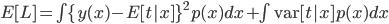 E[L] = \int \{y(x) - E[t|x] \}^2 p(x) dx + \int \mbox{var}[t|x] p(x)dx