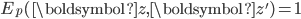 E_p(\boldsymbol{z}, \boldsymbol{z}')=1
