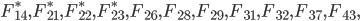 F_{14}^*, F_{21}^*, F_{22}^*, F_{23}^*, F_{26}, F_{28}, F_{29}, F_{31}, F_{32}, F_{37}, F_{43},