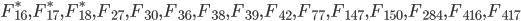 F_{16}^*, F_{17}^*, F_{18}^*, F_{27}, F_{30}, F_{36}, F_{38}, F_{39}, F_{42}, F_{77}, F_{147}, F_{150}, F_{284}, F_{416}, F_{417}
