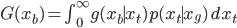 G(x_b) = \int_0^\infty g(x_b\mid x_t)p(x_t\mid x_g)\,dx_t