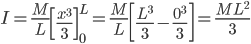 I=\frac{M}{L}\left [ \frac{x^{3}}{3} \right ]_{0}^{L}=\frac{M}{L}\left [ \frac{L^{3}}{3}-\frac{0^{3}}{3} \right ]=\frac{ML^{2}}{3}