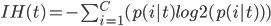 IH(t) = - \sum_{i=1}^{C}(p(i|t)log2(p(i|t)))