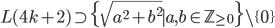 L(4k+2)\supset \{\sqrt{a^2+b^2}\mid a,b\in \mathbb{Z}_{\geq 0}\}\setminus \{0\}