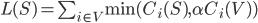 L(S) = \sum_{i \in V} \mbox{min}(C_i(S), \alpha C_i(V))
