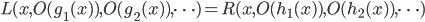 L(x, O(g_1(x)), O(g_2(x)), \dots) = R(x, O(h_1(x)), O(h_2(x)), \dots)