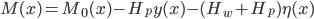 M(x) = M_0(x) - H_p y(x) - (H_w + H_p) \eta (x)