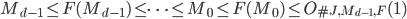 M_{d-1} \leq F(M_{d-1}) \leq \cdots \leq M_0 \leq F(M_0) \leq O_{\#J, M_{d-1}, F}(1)
