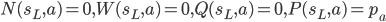 N(s_L,a)=0, W(s_L,a)=0, Q(s_L, a)=0, P(s_L,a)=p_a