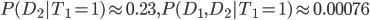 P(D_2|T_1=1) \approx 0.23,P(D_1,D_2|T_1=1) \approx 0.00076