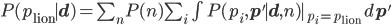 P(p_{\rm lion}\mid {\mathbf d}) = \sum_n P(n) \sum_i \int P(p_i, {\mathbf p}'\mid {\mathbf d},n)|_{p_i=p_{\rm lion}} \,d{\mathbf p}'
