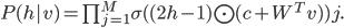 P(h|v)= \prod_{j=1}^{M} \sigma((2h-1) \bigodot (c+W^Tv))j.