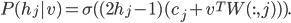 P(h_j|v)=\sigma ((2h_j -1)(c_j+ v^T W (:, j))).