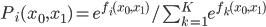 P_i(x_0,x_1) = e^{f_i(x_0,x_1)}/\sum_{k=1}^{K}e^{f_k(x_0,x_1)}